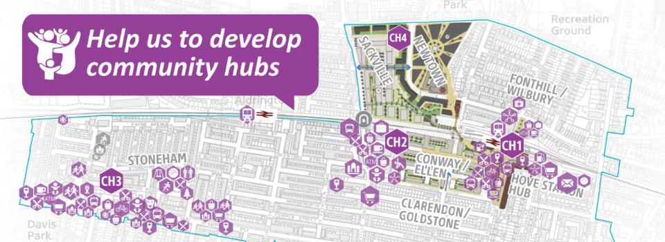 We want to develop community hubs with jobs, services and facilities for local people - can you help?