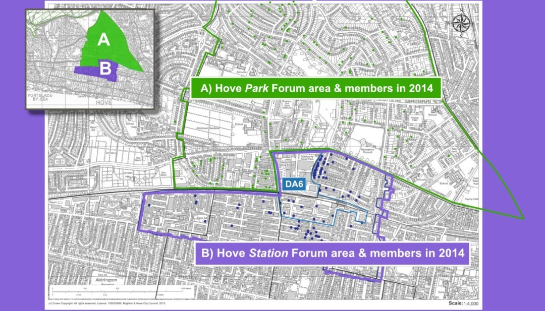 Map showing both Hove Neighbourhood Plan areas